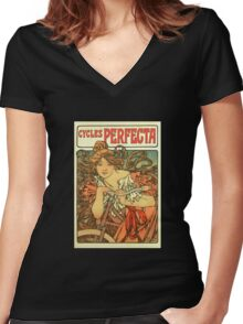 Alphonse Mucha - Art Nouveau - Cycles Perfecta Women's Fitted V-Neck T-Shirt