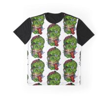Zombie Skull Brains Graphic T-Shirt