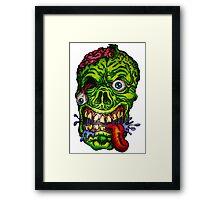 Zombie Skull Brains Framed Print