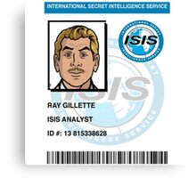 Ray Gillette ID Badge Canvas Print