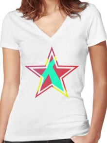 Striped Star [Red] Women's Fitted V-Neck T-Shirt
