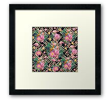 Tropical floral, flamingos and gold strokes pattern Framed Print