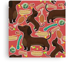 Dachshund with hot dog in red Canvas Print