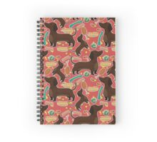 Dachshund with hot dog in red Spiral Notebook