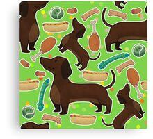 Dachshund with hot dog in green Canvas Print