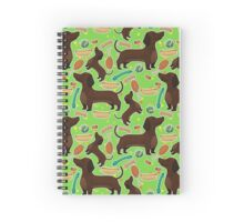 Dachshund with hot dog in green Spiral Notebook