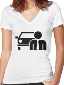 Car salesman Women's Fitted V-Neck T-Shirt