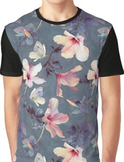 Butterflies and Hibiscus Flowers - a painted pattern Graphic T-Shirt
