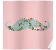 cool moustache with pink/peach background Poster