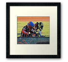Riders at gates Framed Print