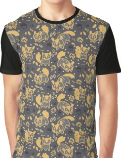 Gold and Black Squirrels Pattern Graphic T-Shirt
