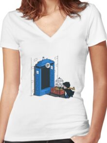 Harry Potter - Tardis Women's Fitted V-Neck T-Shirt