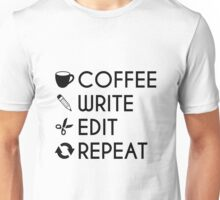 Coffee Write Save Repeat Writers Coffee Lovers Black Vector Design Unisex T-Shirt