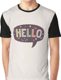 Hello Speech Bubble Typography Graphic T-Shirt
