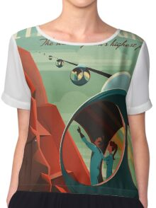 Mars Travel Poster Chiffon Top