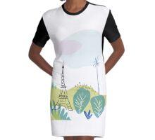 Paris park and Eiffel Tower Graphic T-Shirt Dress