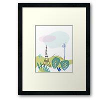 Paris park and Eiffel Tower Framed Print
