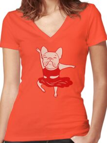 Frenchie's Solo Dance Women's Fitted V-Neck T-Shirt