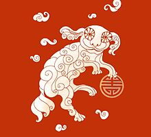 Long Life White Cloud Foo Dog by SusanSanford