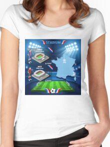 Paris Nice Stadium Infographics Women's Fitted Scoop T-Shirt
