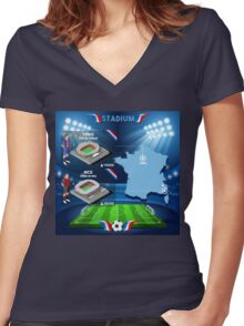 Paris Nice Stadium Infographics Women's Fitted V-Neck T-Shirt