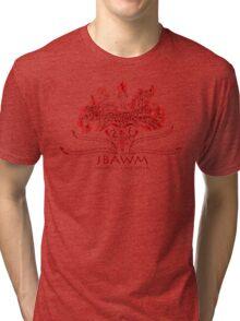 JBAWM Dark Red Flower Tri-blend T-Shirt