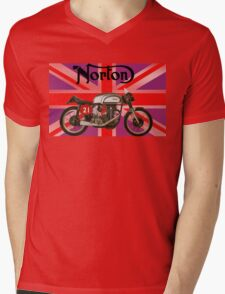 NORTON MANX UNION JACK Mens V-Neck T-Shirt