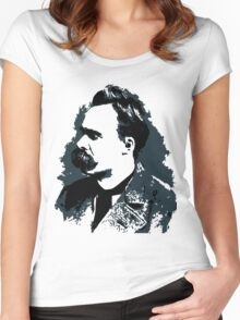 Friedrich Nietzsche portrait vector drawing  Women's Fitted Scoop T-Shirt