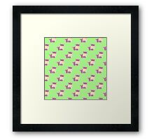 Pattern with a cute hippo Framed Print
