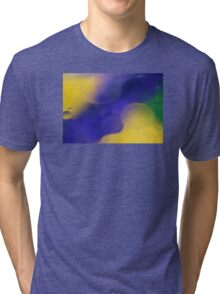 Swirls of Blue and Yellow Tri-blend T-Shirt