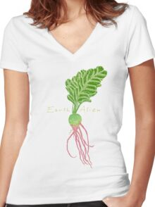Earth Alien Watermelon Radish Women's Fitted V-Neck T-Shirt