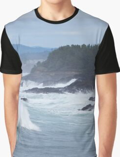 Crashing Waves In Blue Graphic T-Shirt