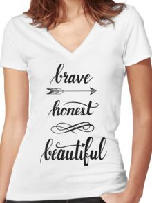 brave, honest, beautiful  Women's Fitted V-Neck T-Shirt