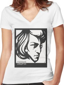Chopin modern art deco style Women's Fitted V-Neck T-Shirt