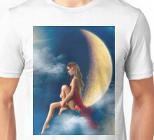 beautiful woman night fairy on moon Unisex T-Shirt