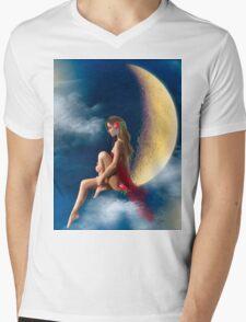 beautiful woman night fairy on moon Mens V-Neck T-Shirt