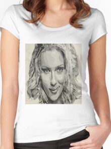Scarlett Johansson Fanart Women's Fitted Scoop T-Shirt