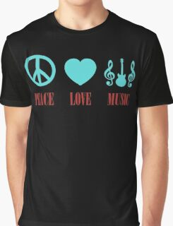 Colorful Peace Love Music Graphic T-Shirt