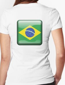 BRAZIL, BRAZILIAN FLAG, FLAG OF BRAZIL, BUTTON, PURE & SIMPLE, Brazil, Football, Olympics, on Yellow Womens Fitted T-Shirt