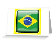 BRAZIL, BRAZILIAN FLAG, FLAG OF BRAZIL, BUTTON, PURE & SIMPLE, Brazil, Football, Olympics, on Yellow Greeting Card