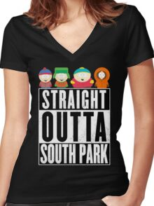 Straight outta South Park Women's Fitted V-Neck T-Shirt