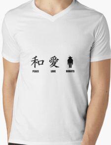 Kanji Peace Love Robots Mens V-Neck T-Shirt