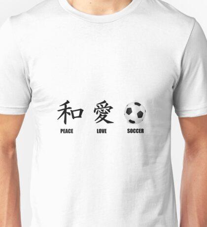 Kanji Peace Love Soccer Unisex T-Shirt