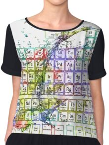 Colorful Periodic Table Of The Elements  with liquid splatters. Chiffon Top
