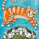 Ginger Kitty, Paper Cranes by Ryan Conners
