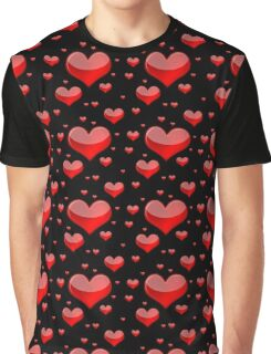 Hearts Red and Black Graphic T-Shirt