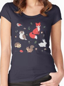 Animals of the Forest Women's Fitted Scoop T-Shirt