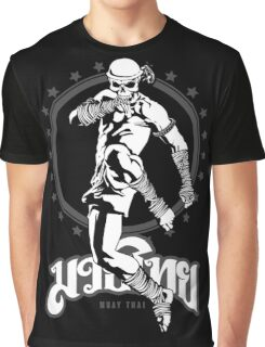 muay thai skull thailand martial art sport power kick impact Graphic T-Shirt