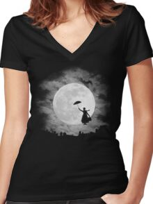 Mary poppins moon Women's Fitted V-Neck T-Shirt
