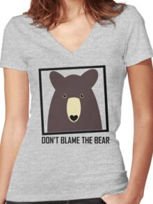 DON'T BLAME THE BROWN BEAR Women's Fitted V-Neck T-Shirt